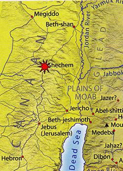 ancient maps, Ancient Middle East map, Bible map, Kingdom of Israel, ancient warfare, Bible battles, SHECHEM, Genesis 34, rape of Dinah, Simeon and Levi, revenge