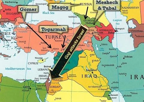 End Times map, eschatology, Apocalypse, Revelation, End of the World, Armageddon, Ezekiel 38 map, Isaiah 17, nuclear threat