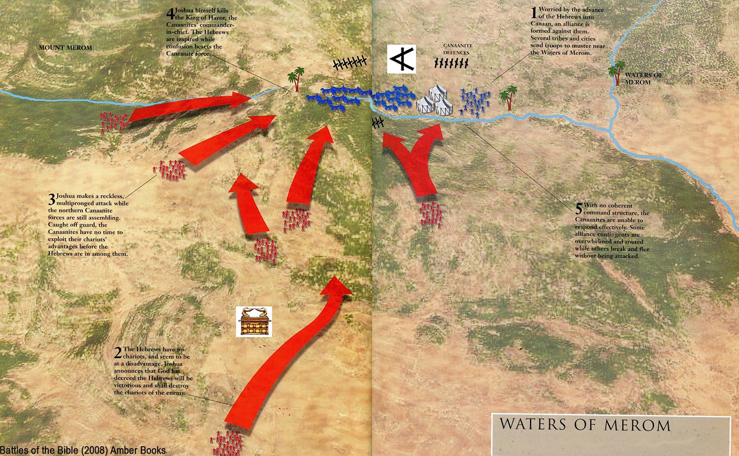 military history, ancient war, battle map, battle strategy, military tactics, Battle of Waters of Merom, Joshua 11