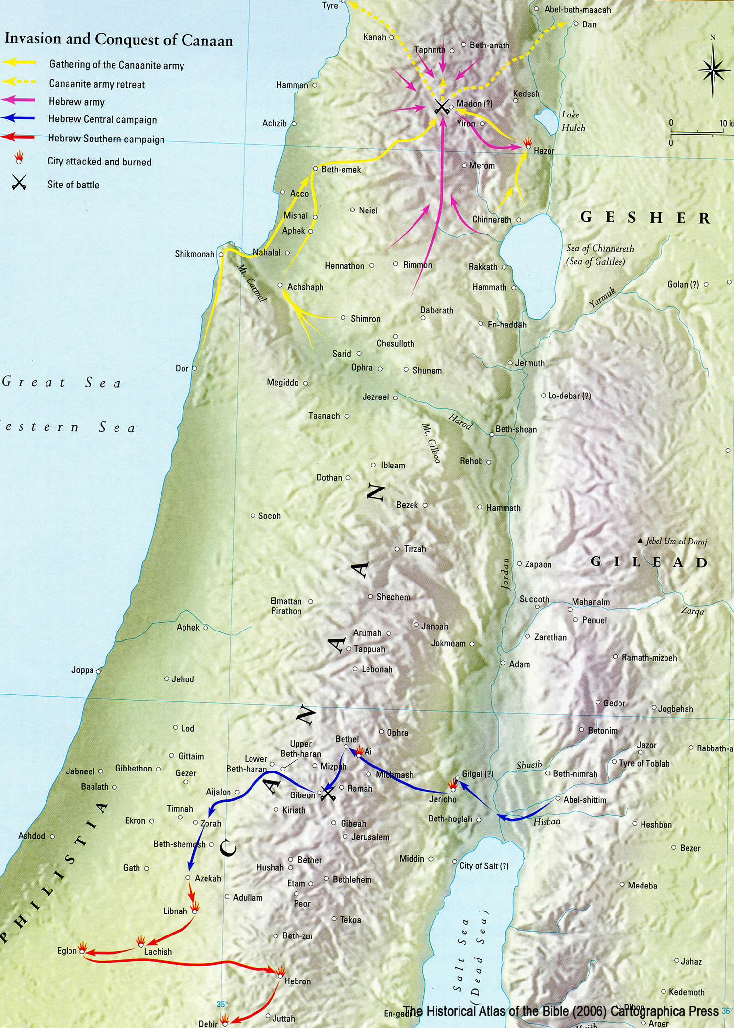 Ancient Middle East map, ancient maps, Biblical maps, Allotment PROMISED LAND, Conquest of Canaan, 12 Tribes Land Division, Israelite Settlements, Joshua 13