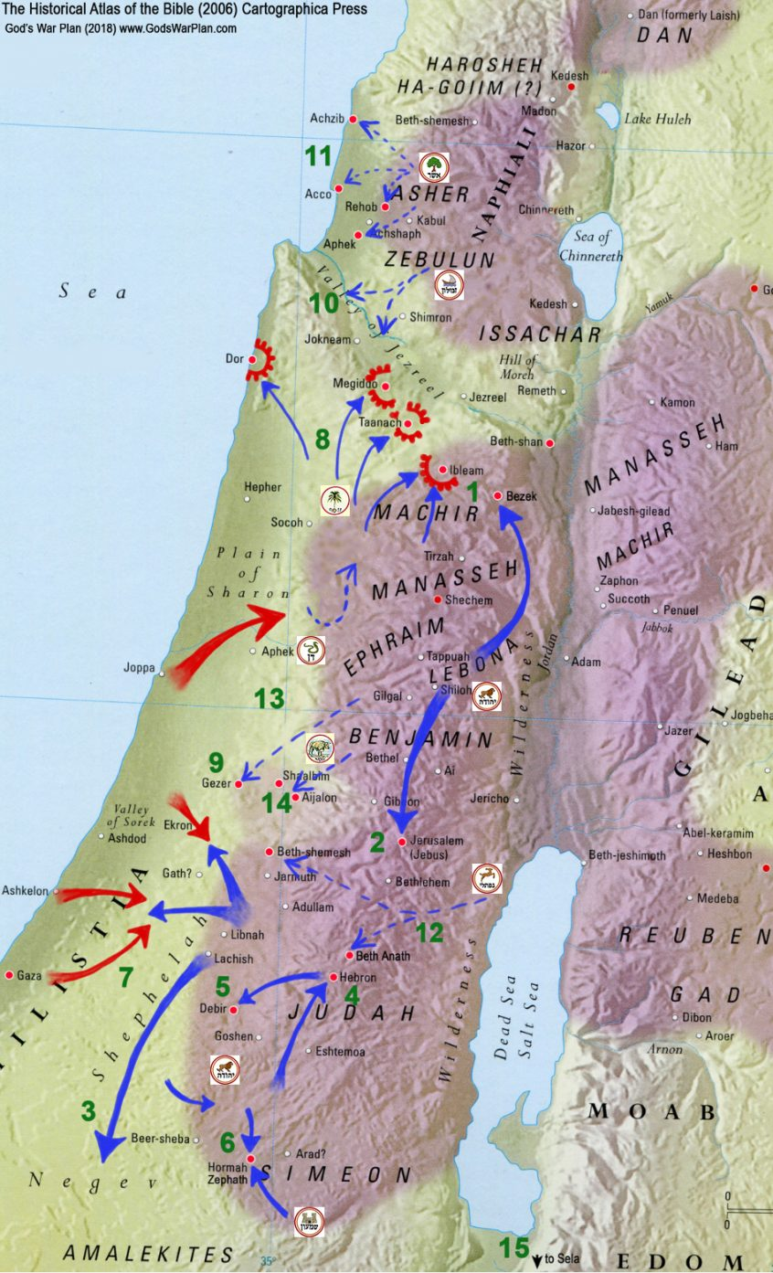 military history, ancient war, battle map, battle strategy, military tactics, ancient middle east map, ancient Hebrew weapons, Occupation of Canaan, Occupation of the Promised Land, Judges 1-2