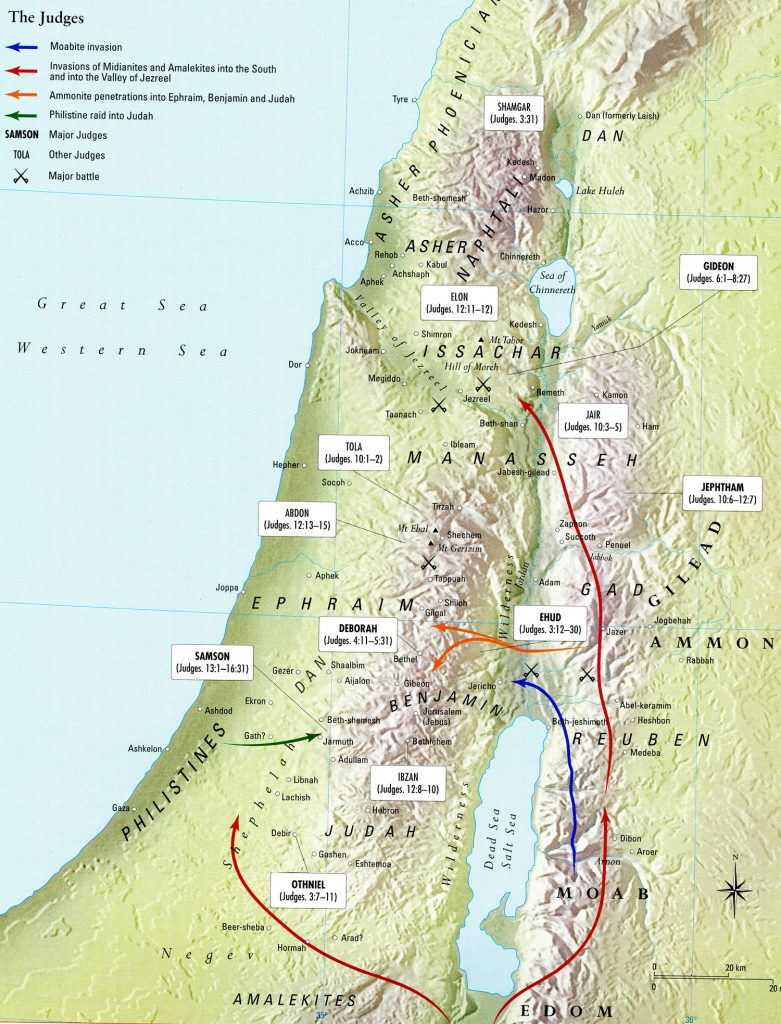 Ancient Middle East map, ancient maps, Biblical maps, ancient warfare, Bible battles, The Book of Judges, Invasion of Canaan; Occupation of the Promised Land, Judges 3