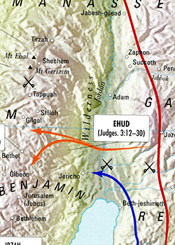 ancient maps, Bible history, military history, Bible battles, Army of God, EHUD AGAINST the MOABITES, Ehud slays Eglon, Judges 3