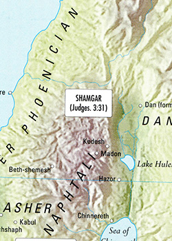 ancient maps, Ancient Middle East map, Bible map, Kingdom of Israel, ancient warfare, Bible battles, Shamgar, Philistines, Canaanites, Judges 3